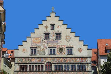 Old town hall in the center of the island Lindau in the Lake Constance - Germany. Banco de Imagens