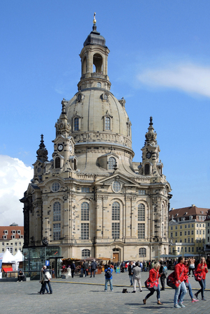 People on the Neumarkt in front of the Frauenkirche in Dresden - Germany. Editorial