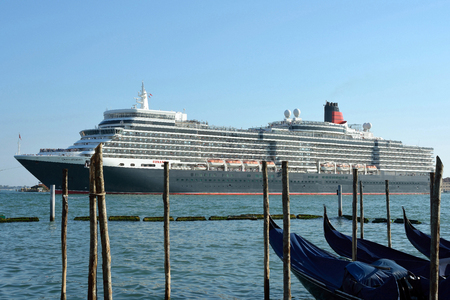 Cruise ship in the Lagoon of Venice - Italy.