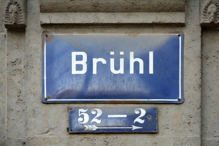 Street sign of the shopping street Bruehl in the city center of Leipzig - Germany.