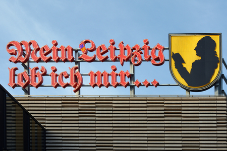 Shopping center H�fe am Br�hl in Leipzig with the quotation of the German Poet Goethe ? ? ?My Leipzig I praise myself? ? - Germany. 에디토리얼