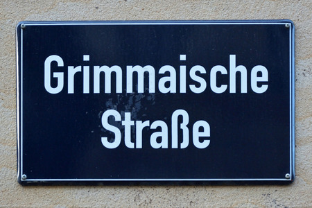 Street sign of the Grimmaische Stra? e in the old town of Leipzig - Germany.