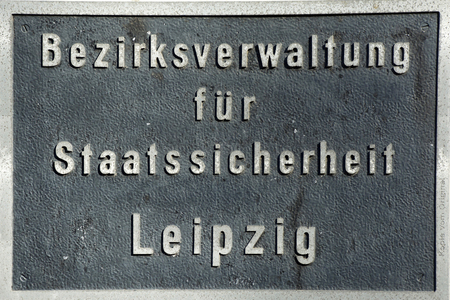 Sign of the former disdrict administration of the State Security Service Stasi of the German Democratic Republic in Leipzig - Germany. 에디토리얼