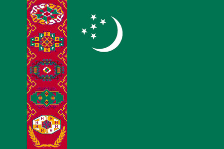 National flag of the Republic of Turkmenistan.