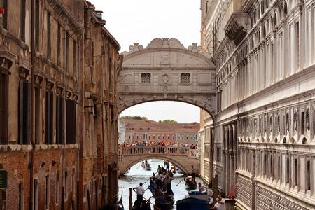 Bridge of Sighs over the Rio di Palazzo della Canonica between the Doges Palace and Prison Prigioni Nuove of Venice - Italy.
