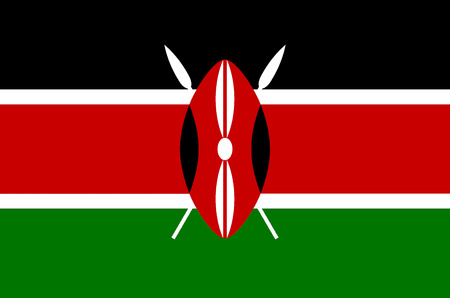 National flag of the Republic of Kenya.