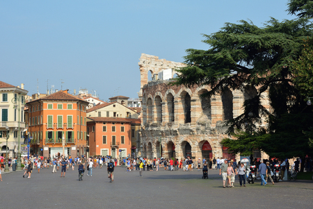 Roman amphitheatre Arena di Verona at the Piazza Bra square in the historic centre of Verona - Italy.