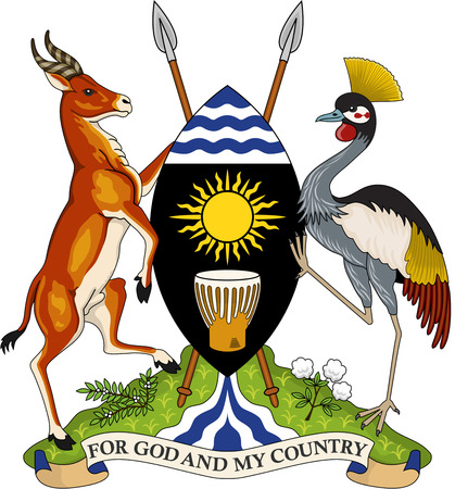 National coat of arms of the Republic of Uganda. 版權商用圖片