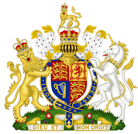 Coat of arms of the Great Britain and Northern Ireland. Фото со стока