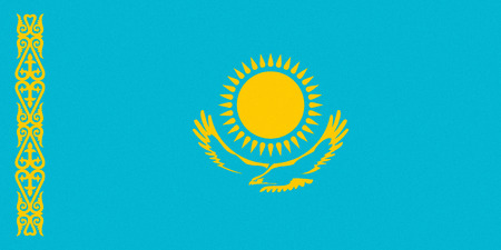 National flag of the Republic of Kazakhstan.