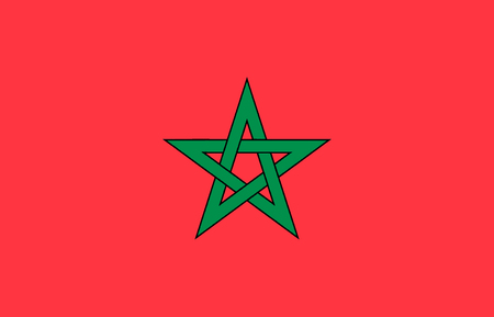 National flag of the Kingdom of Morocco. Banco de Imagens