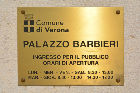 Authorities shield at the headquarters of the city administration of Verona in the Palazzo Barbieri - Italy.