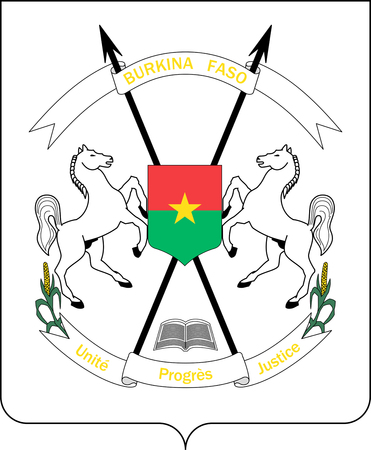 National coat of arms of the Republic of Burkina Faso. Фото со стока
