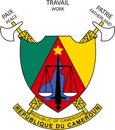 National coat of arms of the Republic of Cameroon. Standard-Bild
