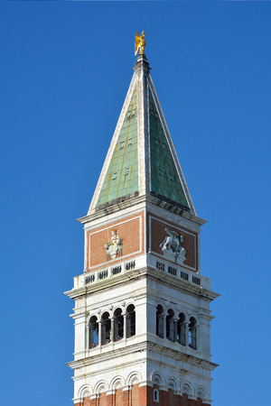 Bell tower Campanile on St Marks square in Venice - Italy. Stock Photo