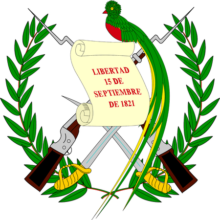 National coat of arms of the Republic of Guatemala. Stock Photo