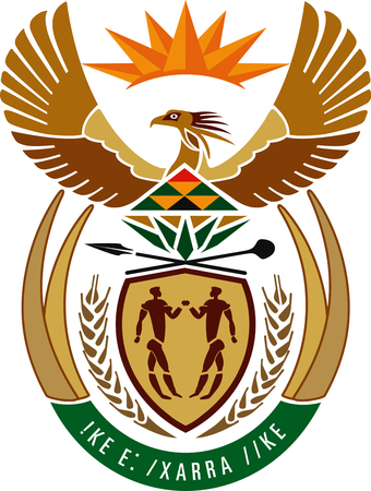 National coat of arms of the Republic of South Africa.
