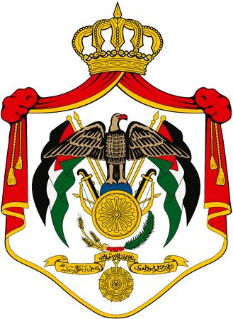 National coat of arms of the Hashemite Kingdom of Jordan.