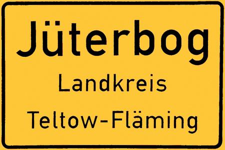 Place name sign of the city of Juterbog of the Mark Brandenburg - Germany. Standard-Bild - 117441658