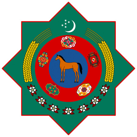 National coat of arms of the Republic of Turkmenistan.