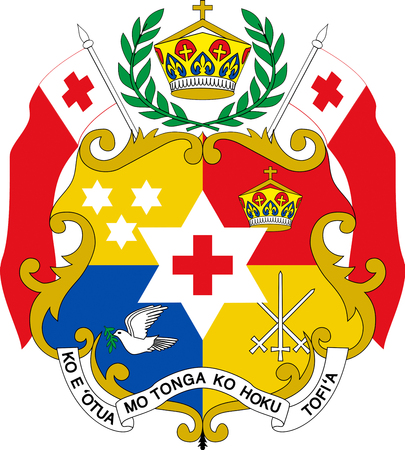 National coat of arms of the Kingdom of Tonga. Stock Photo
