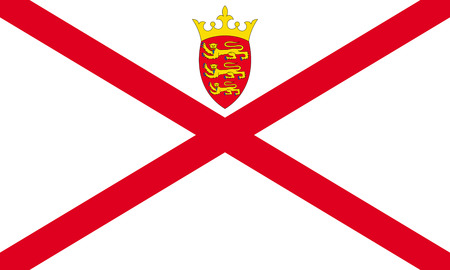 Flag of the British Crown Dependency Jersey. Stock Photo
