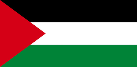 Flag of the Palestinian autonomy authority with seat in Ramallah. Stock Photo