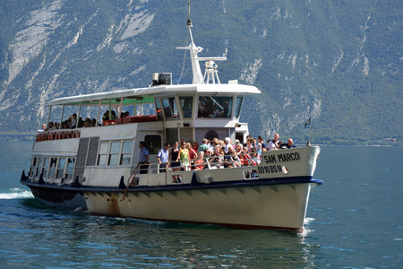 Passenger liner on the Lake Garda at Limone sul Garda - Italy. Stock Photo