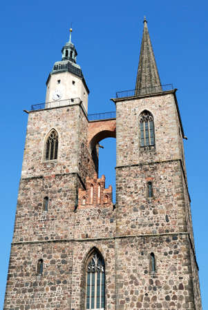 Saint Nicholas church in the historical town centre the German city of Jueterbog in Brandenburg - Germany.