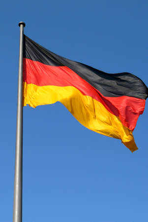 German national flag in the Government sector of Berlin - Germany. Banque d'images