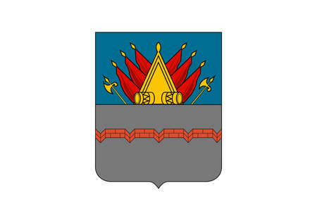 Flag with coat of arms of the Russian city Omsk - Russia. Banque d'images