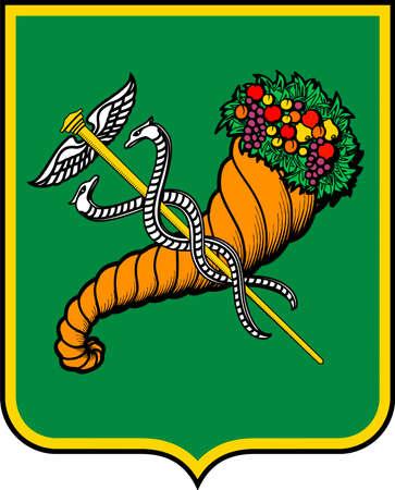 Coat of arms of the Ukrainian city of Kharkiv - Ukraine.