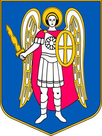 Coat of arms of the Ukrainian capital city Kiev - Ukraine. Banque d'images