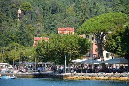 View from Lake Garda to the Villa Albertini in Garda - Italy.