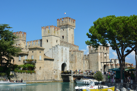 Scaligero castle in the historic center of Sirmione on Lake Garda - Italy.