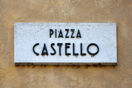 Street sign of the square Piazza Castello in the historic centre of Sirmione - Italy.