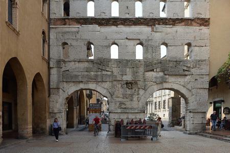 Ancient Roman gate Porta Borsari from the 1st century of Verona - Italy. Editorial