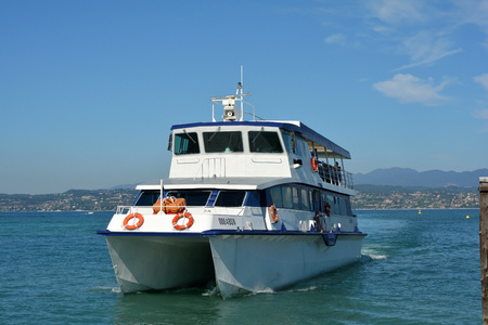 Passenger liner on the Lake Garda at Sirmione - Italy. Editorial