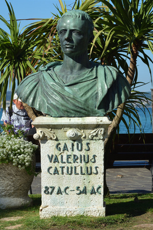 Monument of Gaius Valerius Catullus on the Piazza Carducci at Sirmione at the Lake Garda - Italy.
