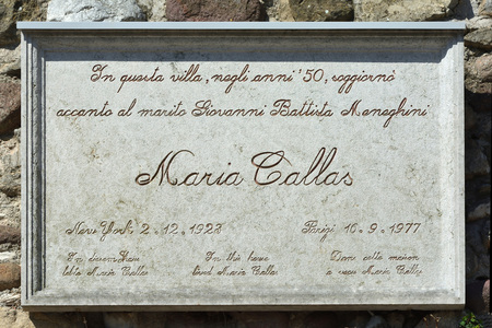 Memorial plaque for the Greek soprano Maria Callas in Sirmione on the Lake Garda - Italy.