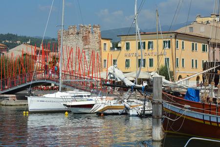 Coastal promenade in Bardolino on the shore of Lake Garda - Italy.