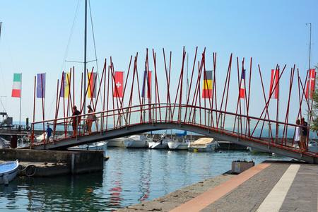 Bardolino, Veneto, Italy - September 09, 2018: Harbor of Bardolino on Lake Garda - Italy. Editorial