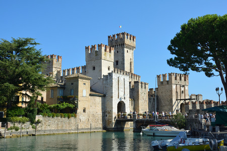 Sirmione, Lombardy, Italy - September 05, 2018: Scaligero castle in the historic center of Sirmione on Lake Garda - Italy.