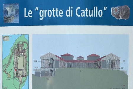Information board about the archeological complex of the grottoes of Catullus in Sirmione on Lake Garda - Italy.