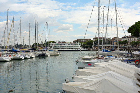 Passenger ship in the port of Desenzano del Garda on Lake Garda - Italy.