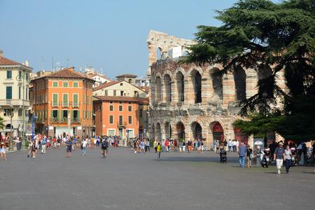 Roman amphitheatre Arena di Verona at the Piazza Bra square in the historic centre of Verona - Italy.
