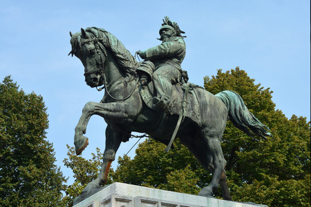 Equestrian statue of the first King of Italy Victor Emmanuel II on the Piazza Bra square in the historic centre of Verona - Italy.