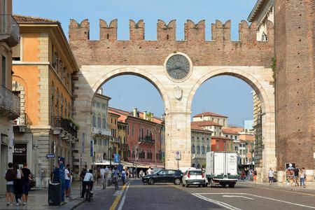 Portoni della Bra at the entrance to Piazza Bra in the historic centre of Verona - Italy.