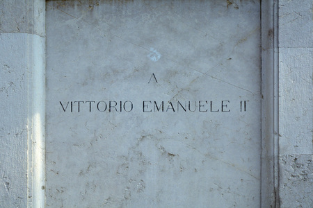Pedestal of the monument to the first King of Italy Victor Emmanuel II on the Piazza Bra square in the historic centre of Verona - Italy.