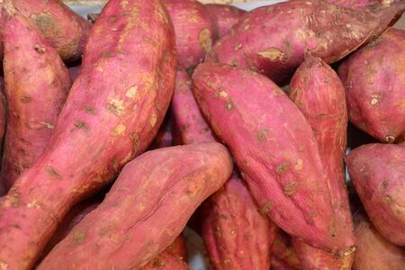 Sweet potatoes tubers on the fruit and vegetable market Naschmarkt in Vienna - Austria. Banco de Imagens
